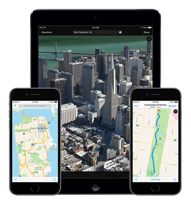 iDevices showing maps