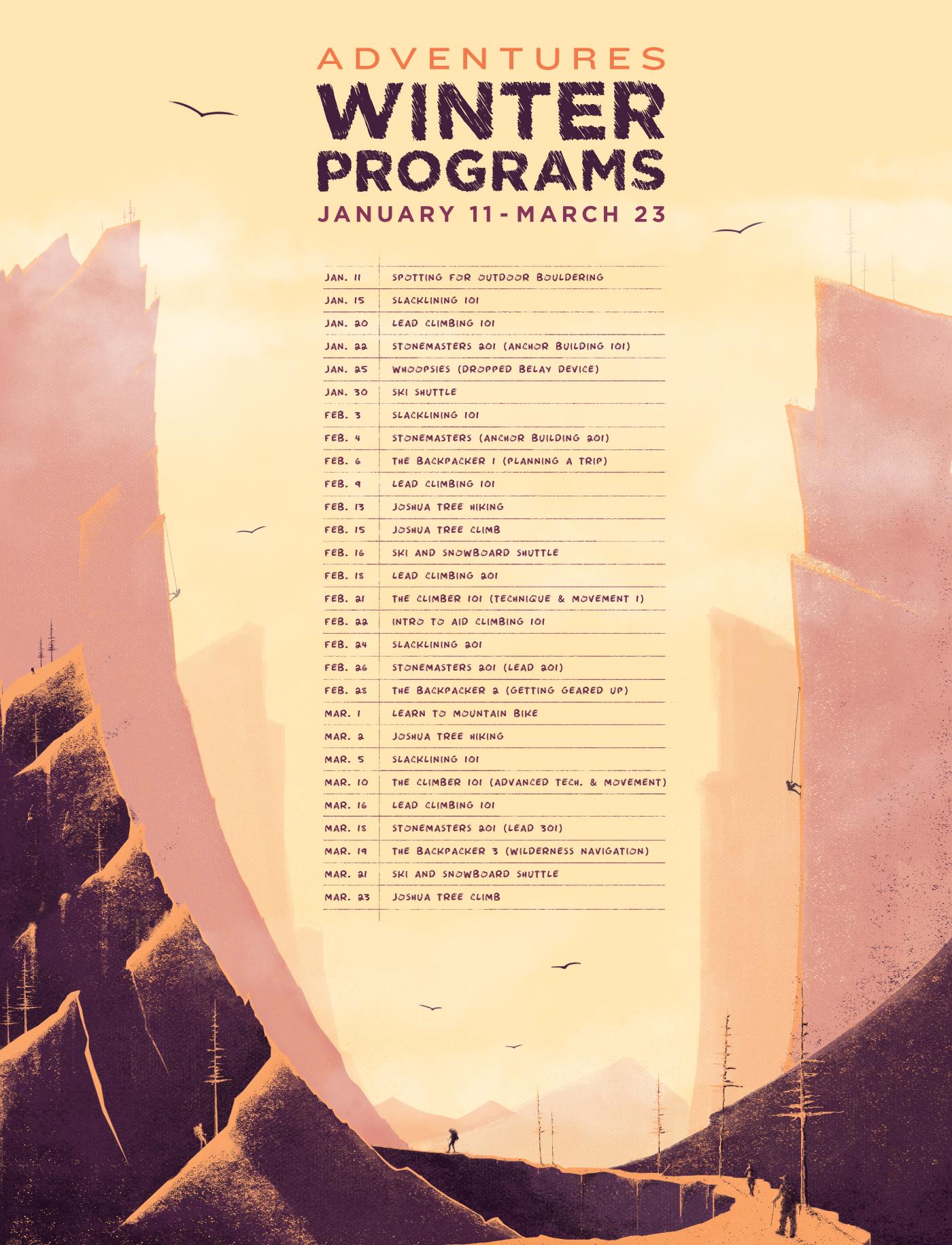 Adventures Winter Programs Calendar with mountain backdrop