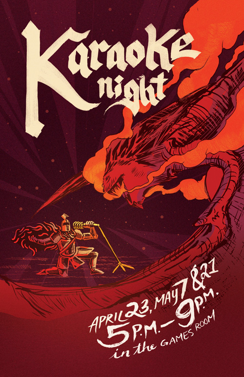 Karaoke Night red poster with knight singing to dragon