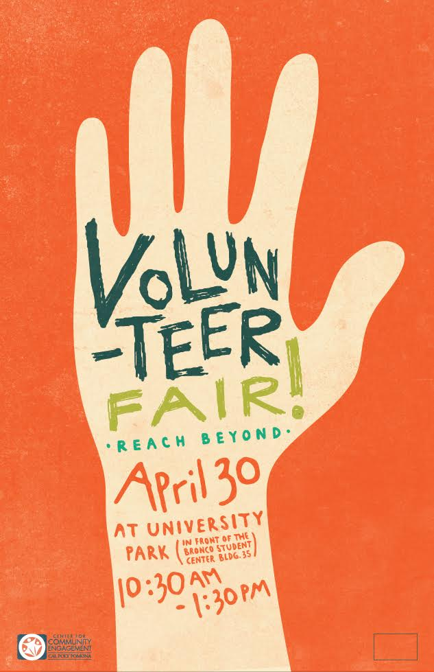 Volunteer Fair poster with large raised hand