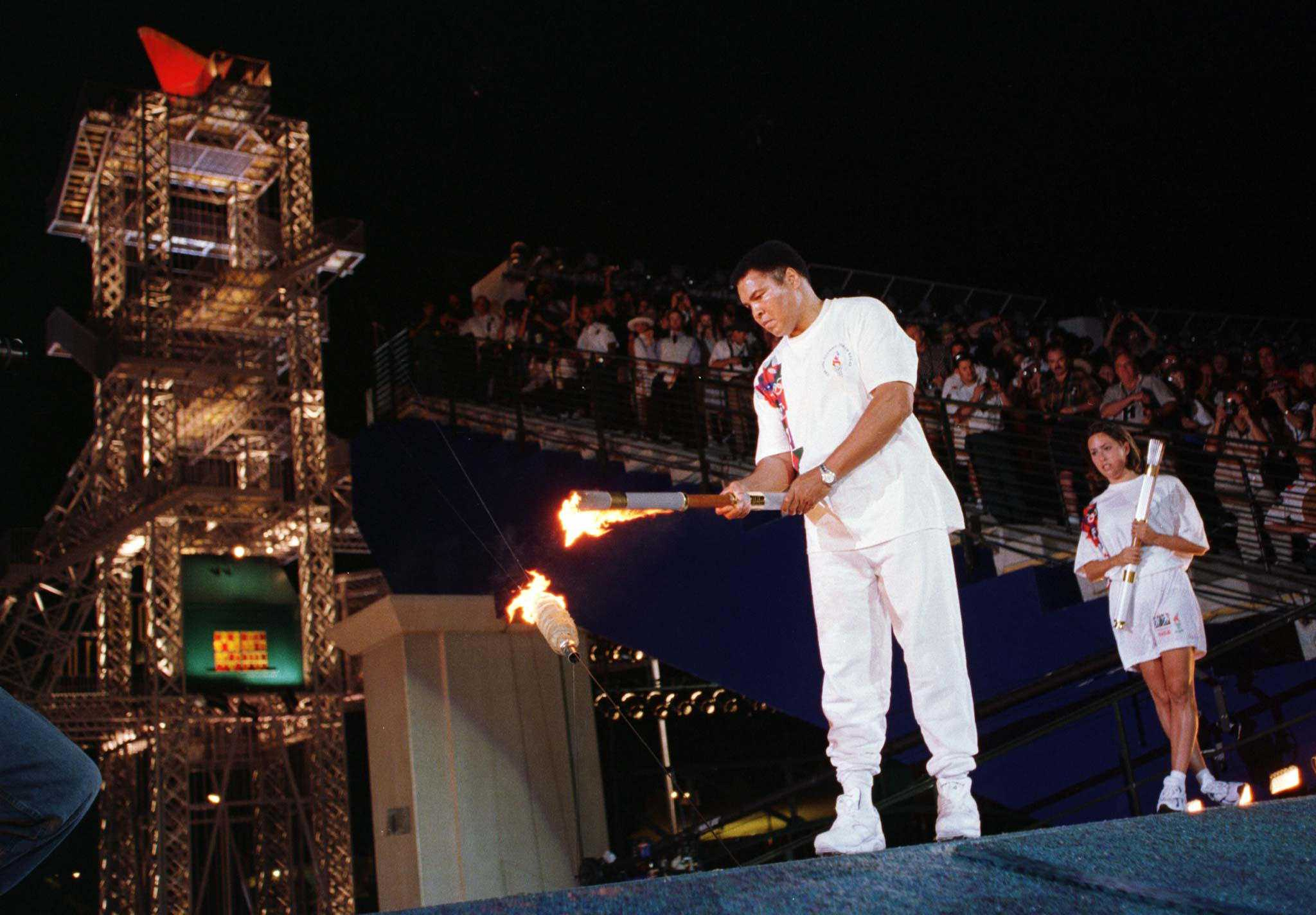Muhammad Ali lights Olympic torch, 1996