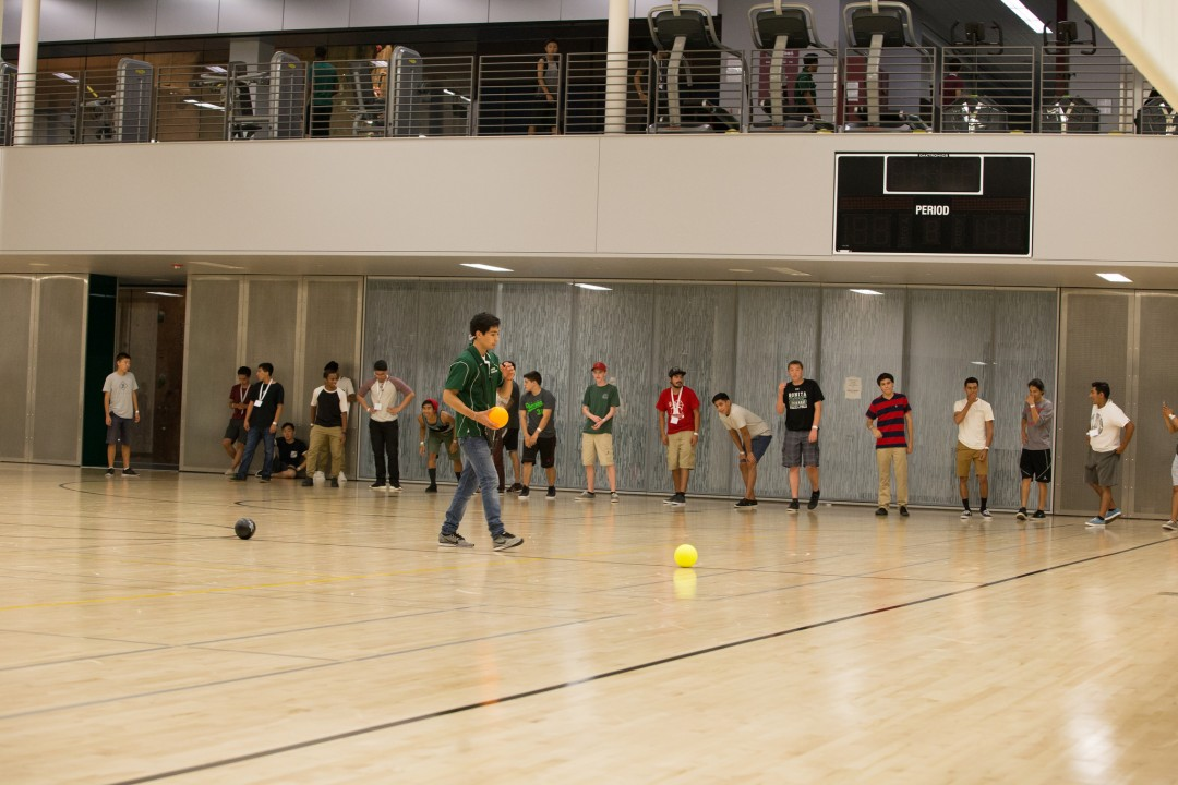 Students preparing for game of dodgeball in BRIC