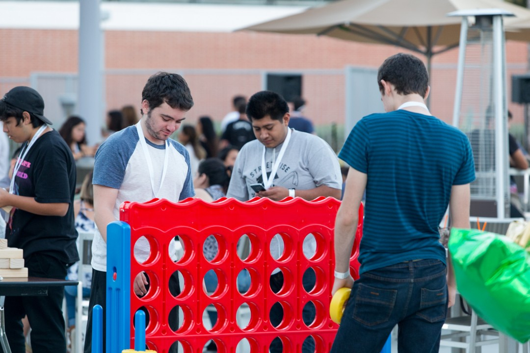 Students playing Connect 4 at the BRIC