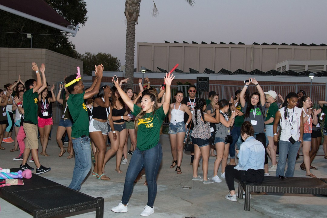 Students dancing at BRIC pool deck