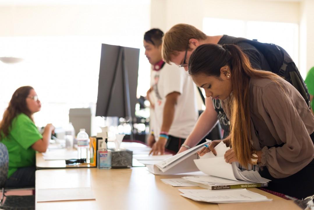 Students filling forms at CPP job fair