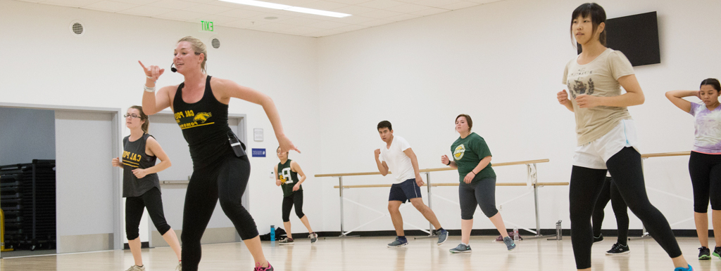 Students in a zumba group fitness class