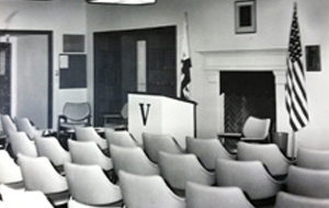 Conference room being prepared for a speech