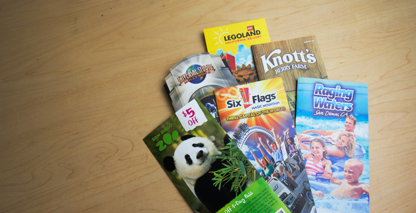 Photo of brochures of various theme parks