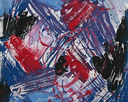Abstract mess of blues, reds, and blacks
