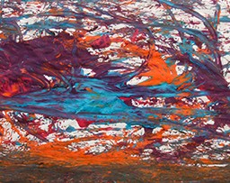 Abstract painting of a mess of orange, blue, purple, and green