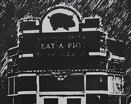 "Illustration of a building labeled ""EAT A PIG"""