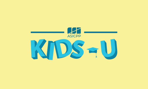 "Blue ""Kids U"" on yellow background"
