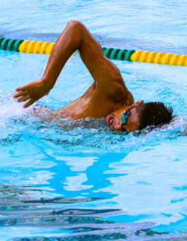 Student swimming in the BRIC pool.