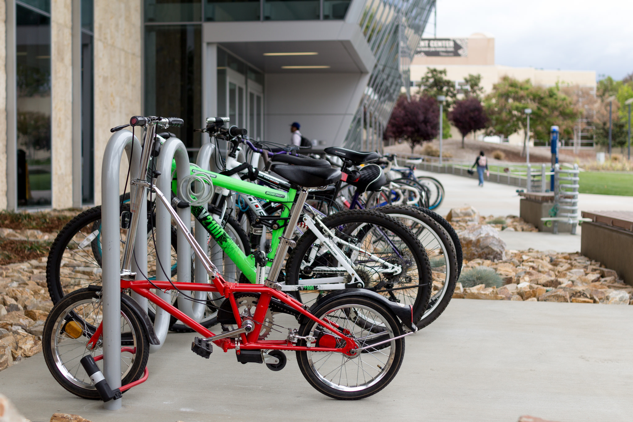 Bike rack in front of the Bronco Recreation and Intramural Complex