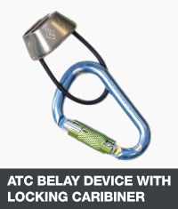 ATC belay device with locking caribiner