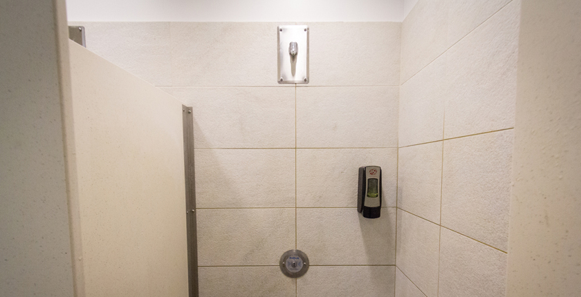 ADA accessible shower at the BRIC