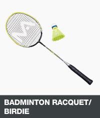 Badminton racquet and birdie