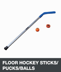 Floor hockey stick, puck and ball