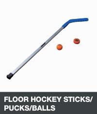 Floor hockey stick, puck and ball