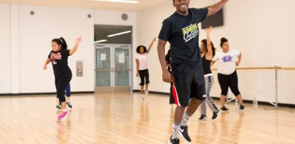 Students in a zumba class