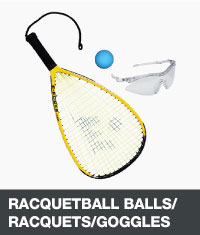 Raquetball balls, racquet and safety goggles