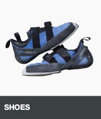 Blue rock climbing shoes