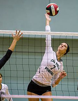 Volleyball player spiking a ball over a net