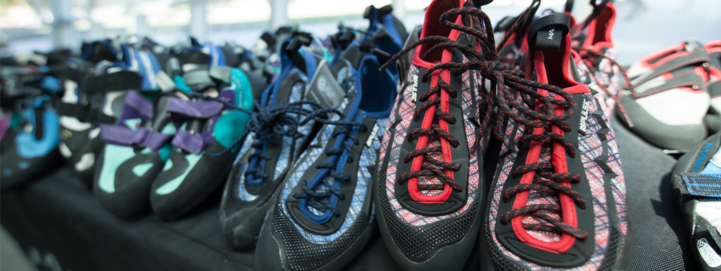 Row of climbing shoes
