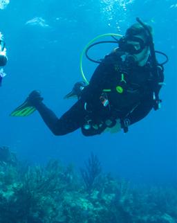 Member scuba diving in the ocean