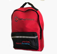 Red and black emergency backpack