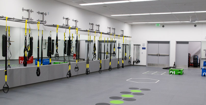 Workout studio with exercise equipment