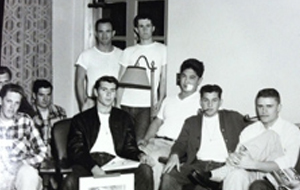 Male students in a house