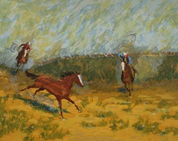 Illustration of two people on horses chasing a horse in a field