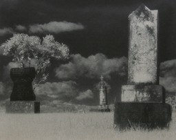 Illustration of broken pillars in a field