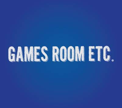Games Room logo on a blue background