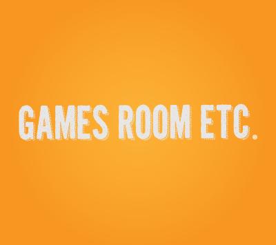 Games Room logo on a orange background