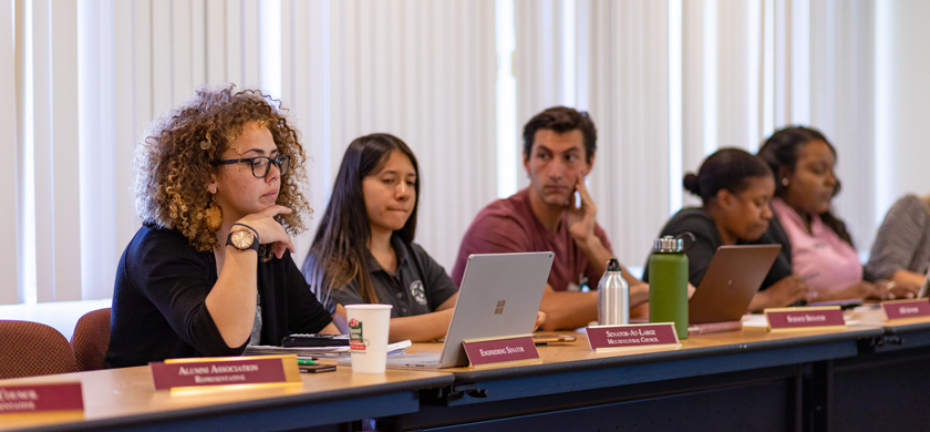 Student Government members during a meeting