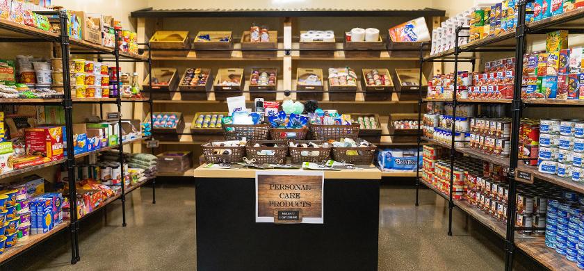 Food items displayed on shelves