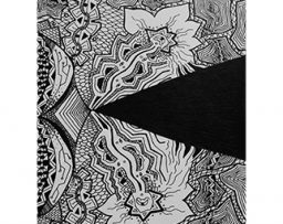 Abstract black and white shapes drawing