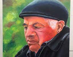 Painting of an older man with a hat