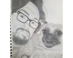 Drawing of a man holding a chihuahua