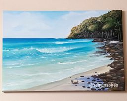 Painting of a an island beach with waves
