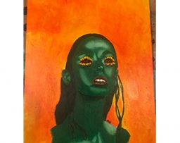 Painting of a green women with sunflower eyes