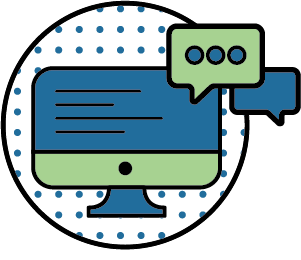 illustration of a computer and chat icons
