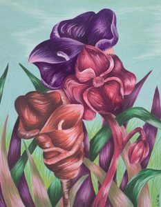 Acrylic painting of purple and pink flowers