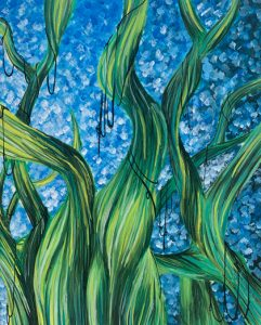 Painting of grass against a blue background