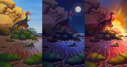 Digital painting of three dinosaurs