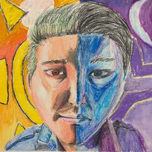Oil pastel art of an abstract face